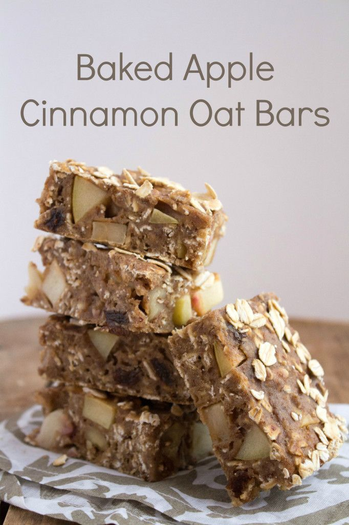 Baked apple cinnamon oatmeal bars recipe -- easy and delicious!