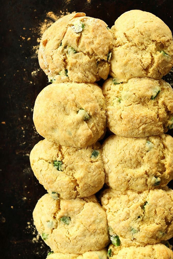 Vegan Cheddar Jalapeno Biscuits! One Bowl, so easy, and SO fluffy and ...