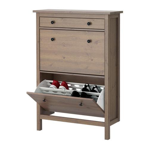 hemnes shoe cabinet with 4 compartments black brown. Black Bedroom Furniture Sets. Home Design Ideas
