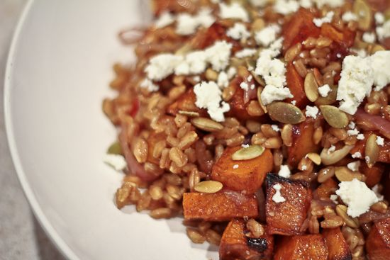 Warm Farro Salad with Roasted Sweet Potatoes, Pepitas and Queso Fresc ...