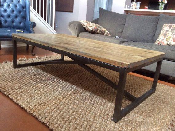 Coffee Table Metal Frame Rustic Wood