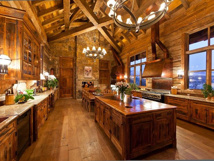 Log Cabin Kitchen Kitchens Pinterest