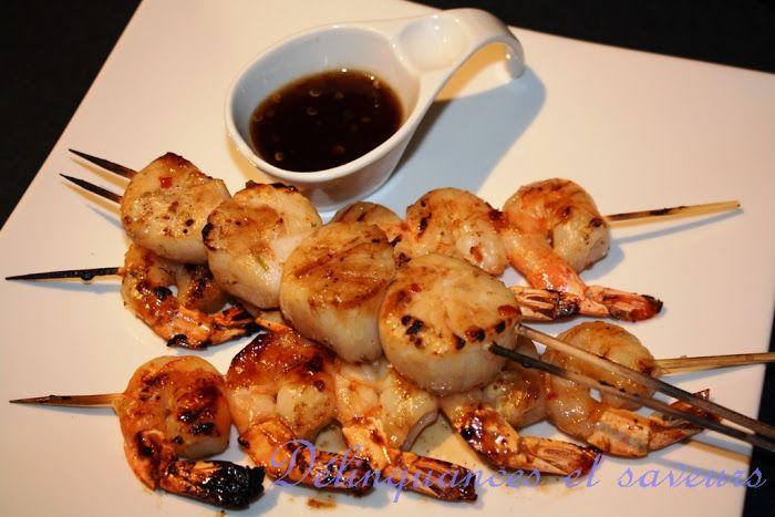 brochettes de crevettes et petoncles azia pinterest. Black Bedroom Furniture Sets. Home Design Ideas
