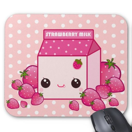 Cute pink milk carton with kawaii strawberries mouse pads $12.95
