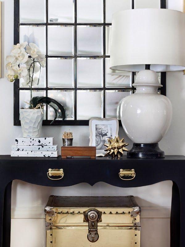 black mirror & console + gold trunk