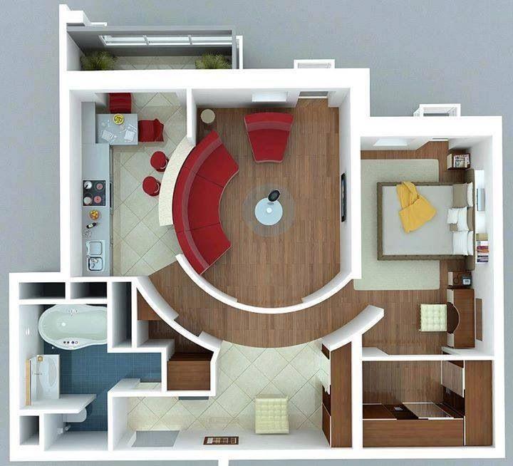 nice plan for one bedroom apartment nice decor pinterest