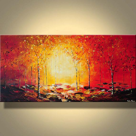 Original Autumn Landscape Painting Modern Art Red Sunset ...