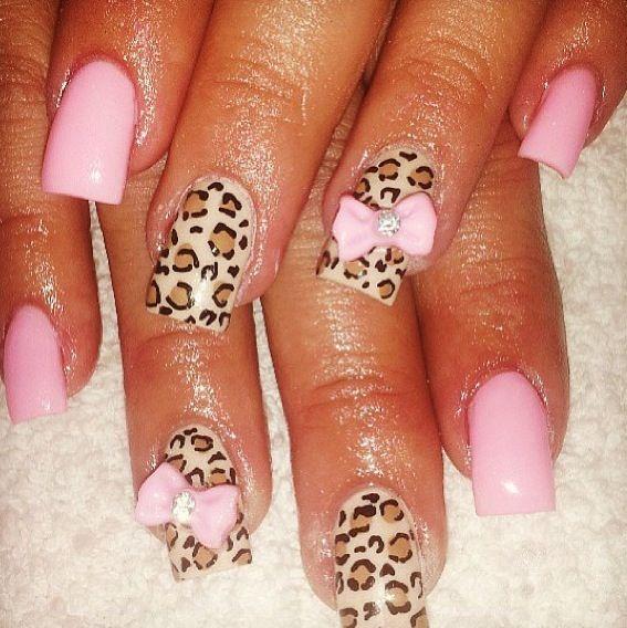 bow and cheetah nail design nails pinterest