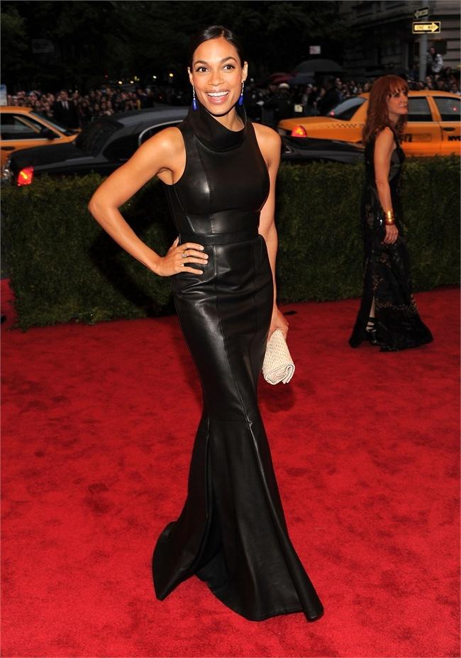 Leather Floor Length Dress | MET Ball 2012 | Rosario Dawson | Calvin ... Rosario Dawson