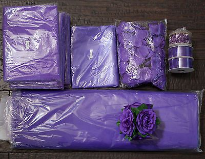 Clearance - HUGE LOT Purple Wedding Tulle Overlays Craft Ribbon DECOR…