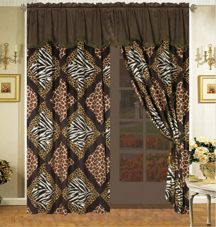 Safari Curtains Safari Patchwork Micro Fur Comforter Curtain Set Leopard Zebra King