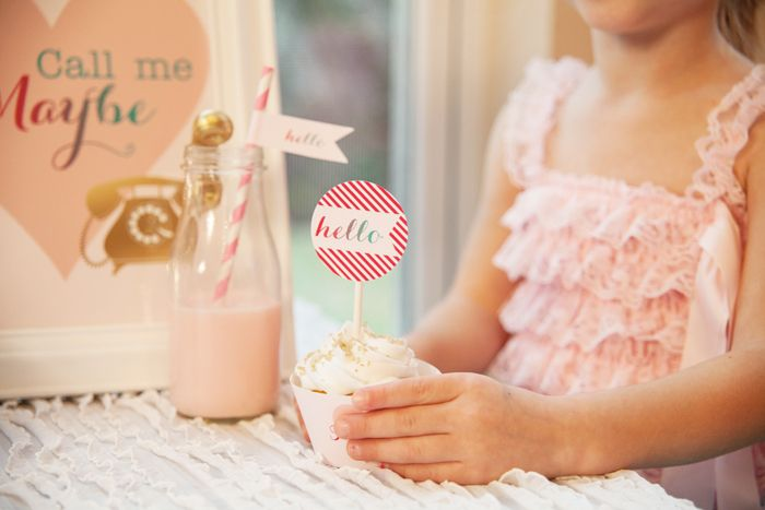 Call Me Maybe Valentine's Day Party - Love the cupcake topper!