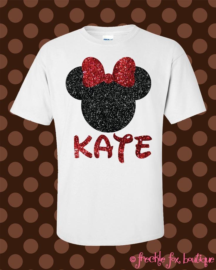 Custom Name Disney Minnie Mouse Mickey Glitter Short