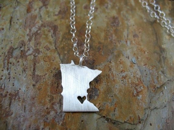 Minnesota Love Necklace in Sterling Silver by DreamingTreeCreation, $60.00