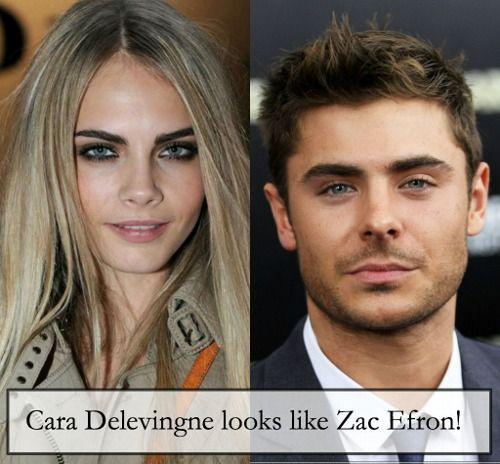 Cara Delevingne looks ... Zac Efron