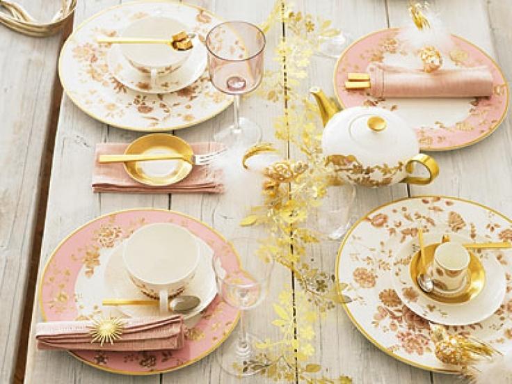 Pink Gold Setting Vintage Wedding Table Pinterest