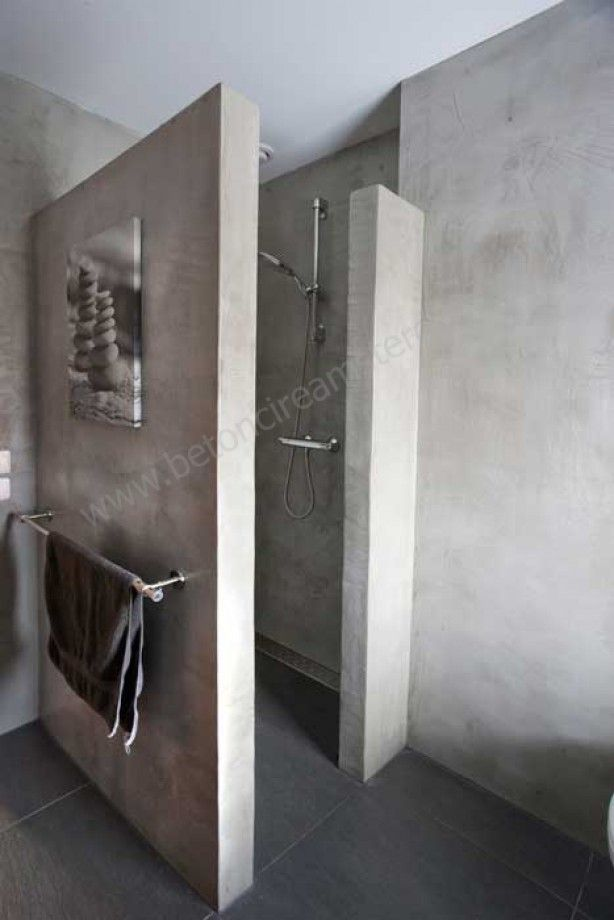 Beton Wanden Badkamer ~ mooi badkamer beton  Beautiful things for the home Pinterest