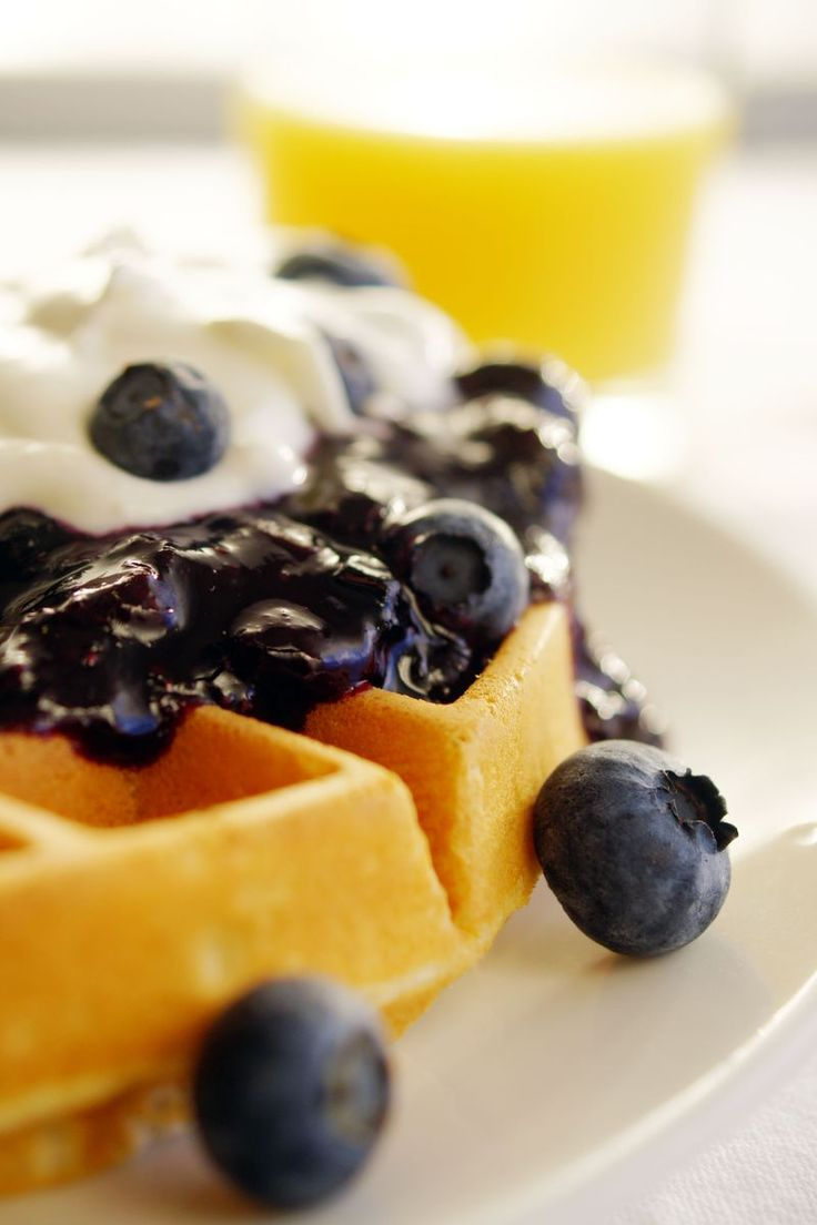 Homemade Belgian Buttermilk Waffles Recipe with blueberry topping