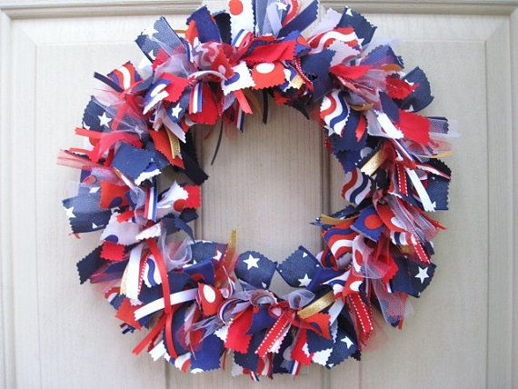 fourth of july fabric wreath