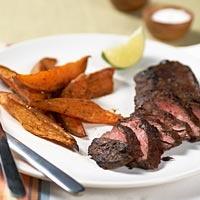 Chili Roasted Sweet Potato Wedges & Lime Marinated Skirt Steak (My ...