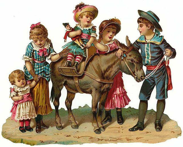 Victorian children and horse