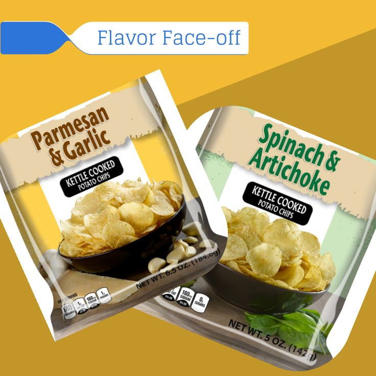 ... Face-off: Parmesan & Garlic vs. Spinach & Artichoke #chips #snacks