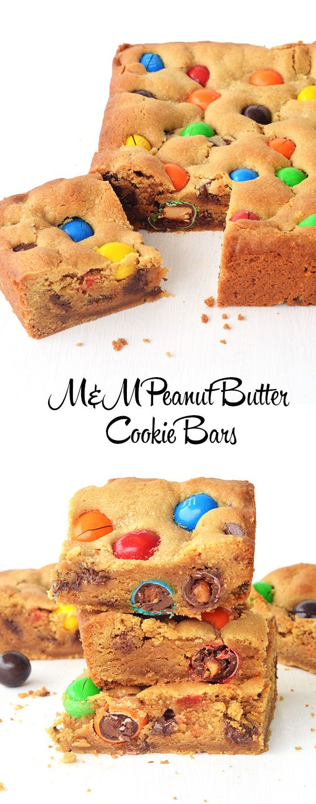 peanut butter cookie bars loaded with peanut m amp m s and chocolate ...