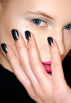 Black and gold reverse French manicure