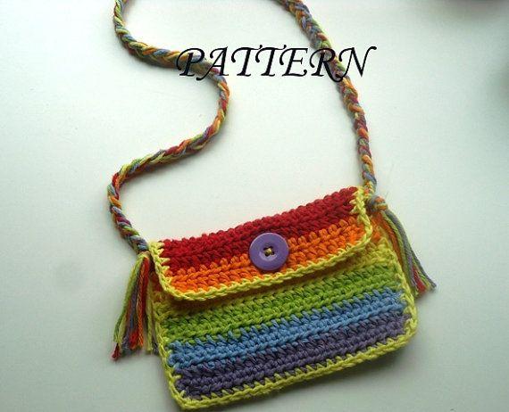 Crochet pattern for purse mini rainbow colors
