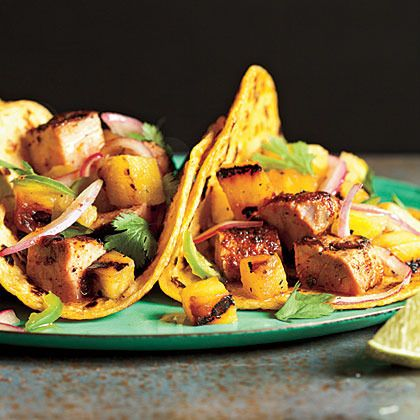 Tacos Al Pastor with Grilled Pineapple Salsa by Cooking Light
