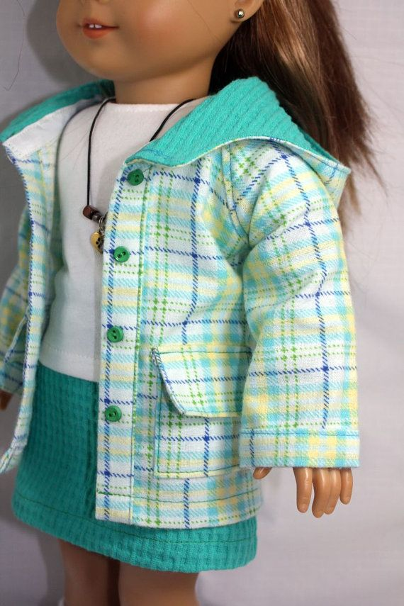 Knitting Patterns For Our Generation Doll Clothes : American Girl Doll Clothes- Plaid Hooded Jacket, Skirt, T Shirt and Necklace