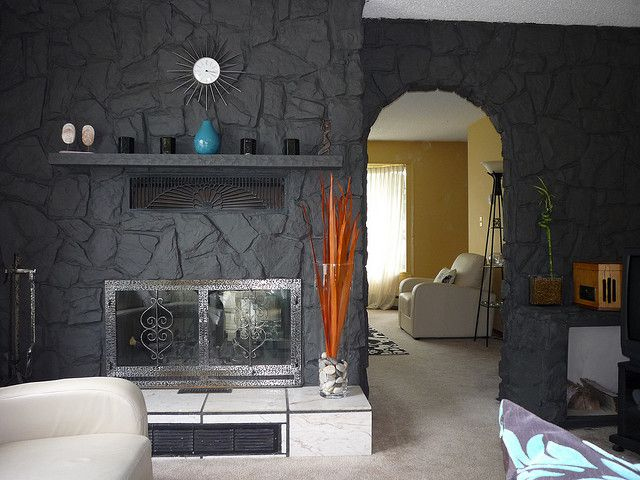 Stone fireplace painted living room pinterest for Fireplace paint color ideas