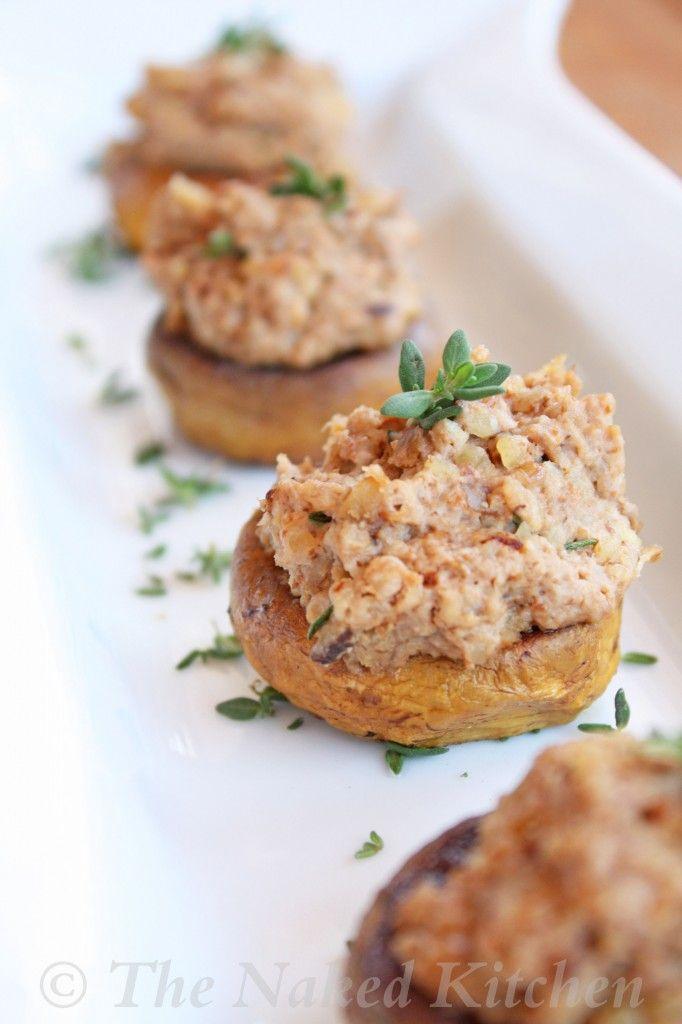 Braised Stuffed Mushrooms- with white wine, hummus, walnuts, shallots ...