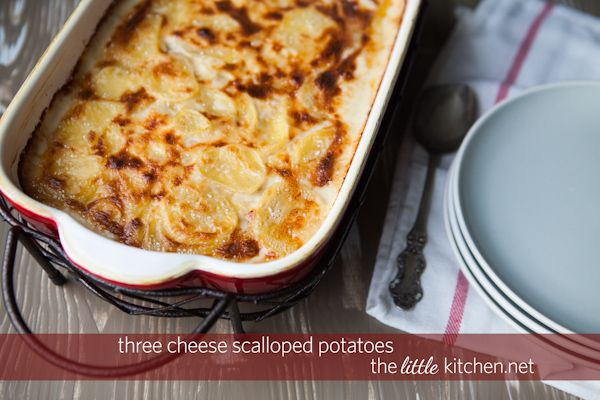 Three Cheese Scalloped Potatoes Recipe | the little kitchen