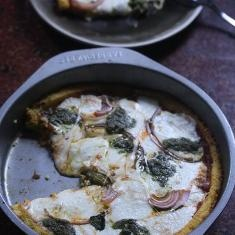 Deep Dish Polenta Pizza With Onions And Pesto