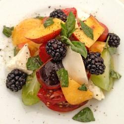 ... heirloom tomato white nectarine and mozzarella salad blackberries and