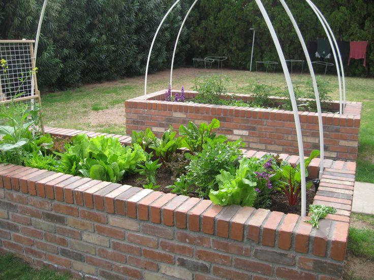 Garden Bed Bricks : Brick raised bed vegetable garden outdoors