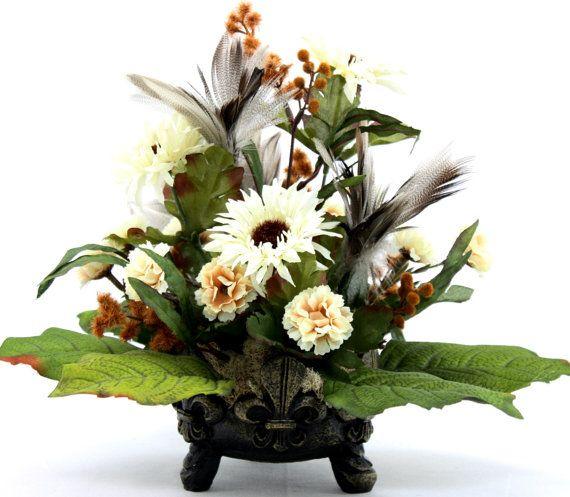 Silk Flower Arrangement Coffee Table Centerpiece, Home