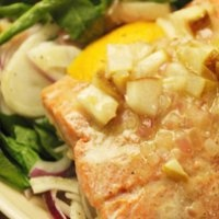 ... pan roasted salmon sautéed fennel with brown rice arugula salad with