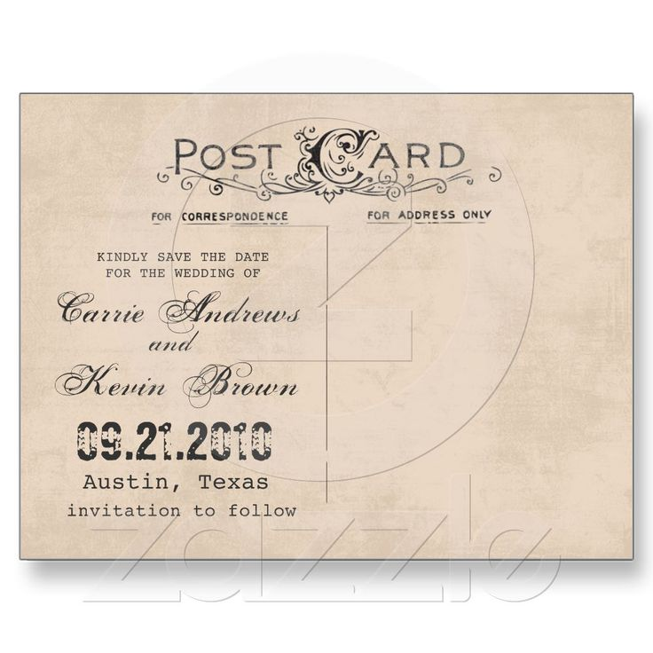 Vintage Photo Save the Date Card Template Post Cards from Zazzle.com