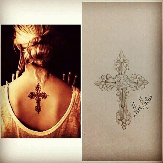 Крест тату женские