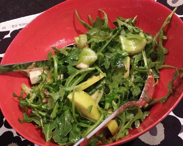 Chicken and Arugula Salad with Apples, Avocados, and Walnuts | Recipe