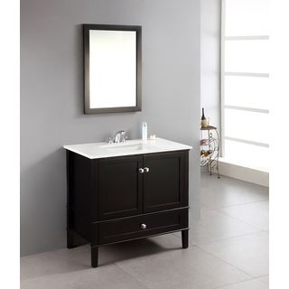 Windham Black 36 Inch Bath Vanity With 2 Doors Bottom Drawer And Whi