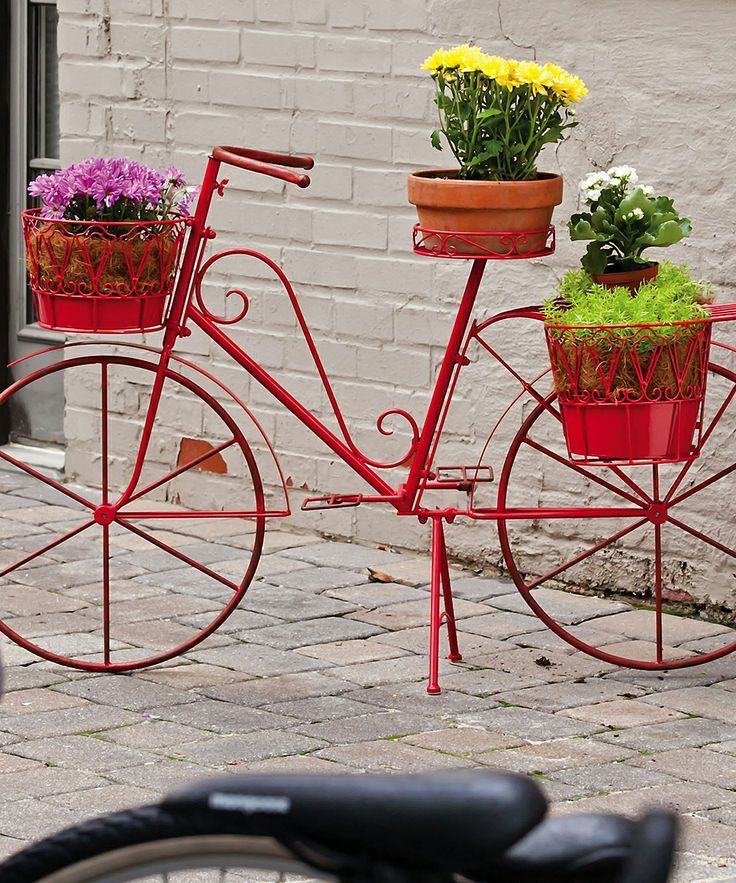 Red bicycle plant stand gardens pinterest - Bicycle planter stand ...