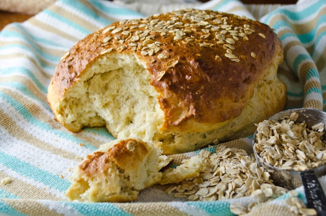 SAVORY YEASTED: Honey Mustard Oatmeal Bread baked in pie plate