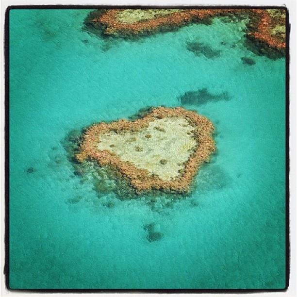 Un coeur au milieu de la Grande Barrière de Corail u large de l'Australie!