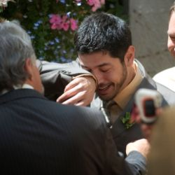 A collection of pictures of grooms seeing their brides for the first time. This one tugs on the heart strings. (image via Karl Maasdam)