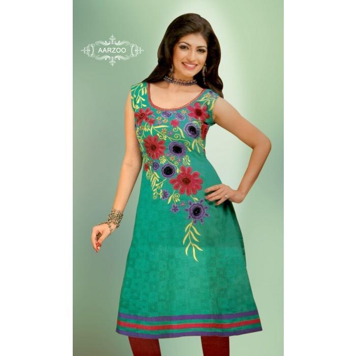 Resham Embroidery Work Cotton Kurti  Long Kurtis  Pinterest