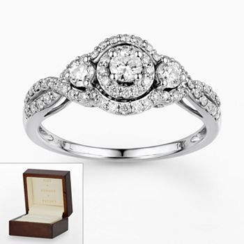 ... White Gold 3/4-ct. T.W. Certified Round-Cut Diamond 3-Stone Frame Ring