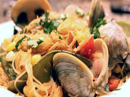Skillet Rice Noodles with Clams, Snow Peas, and Corn | Recipe